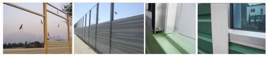 Kombinacija transparentnih in aluminijskih protihrupnih panelov